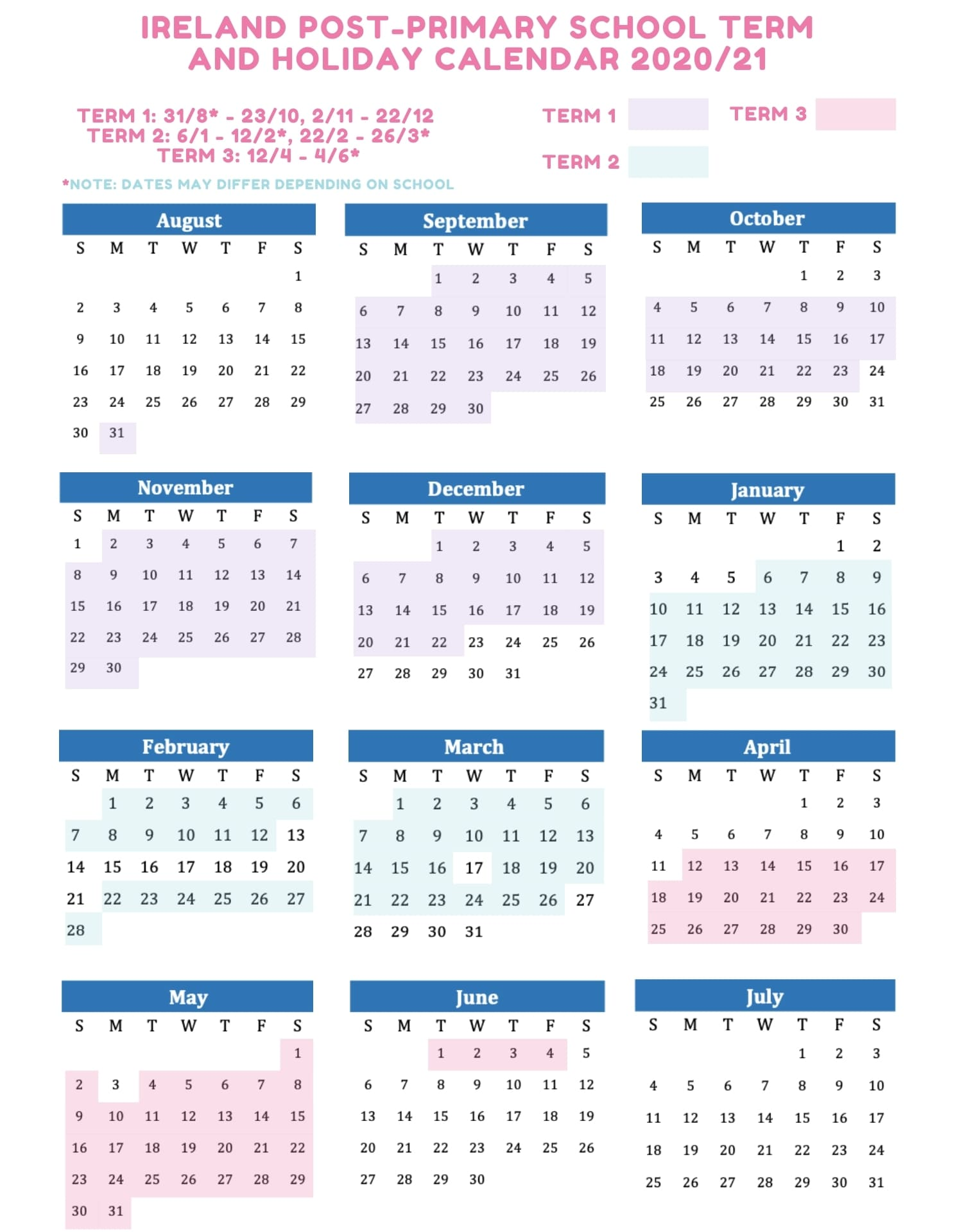 IE post-primary school term and holiday calendar 2020 2021