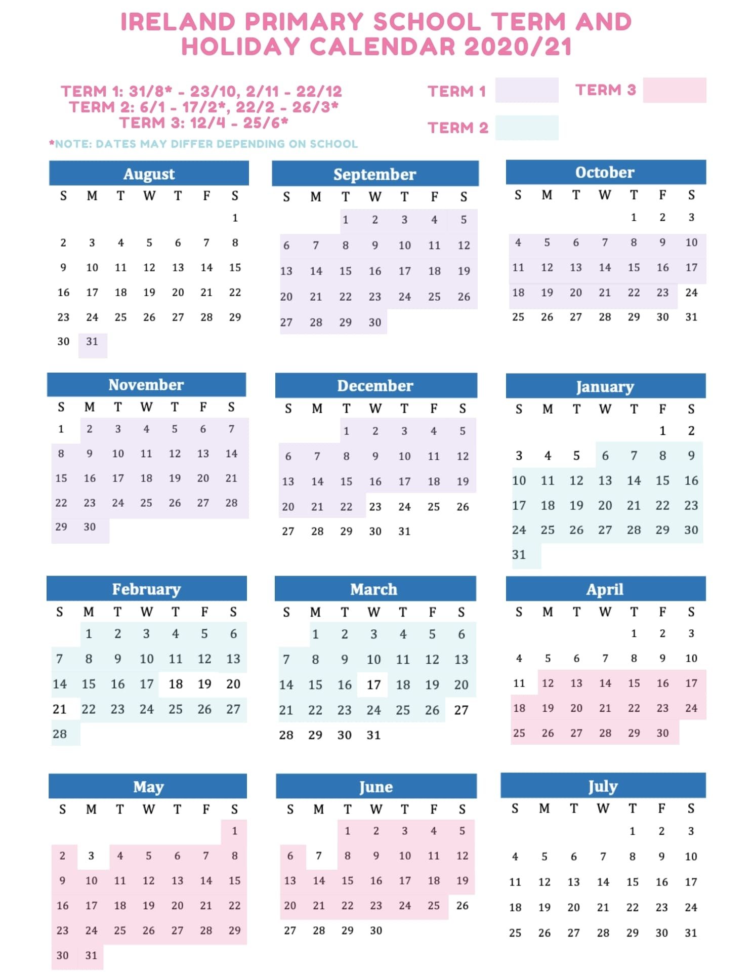 IE primary school term and holiday calendar 2020 2021
