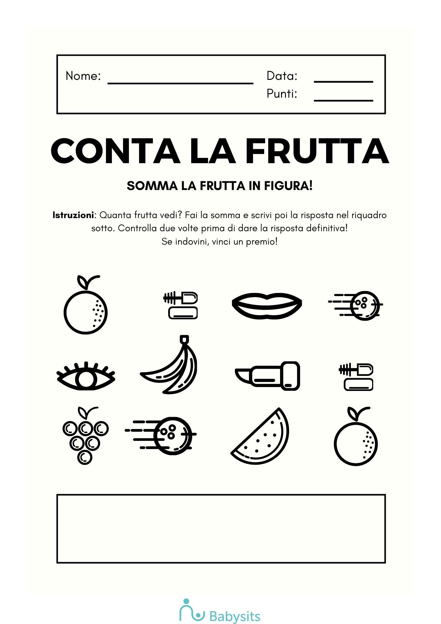 impara la matematica con la frutta
