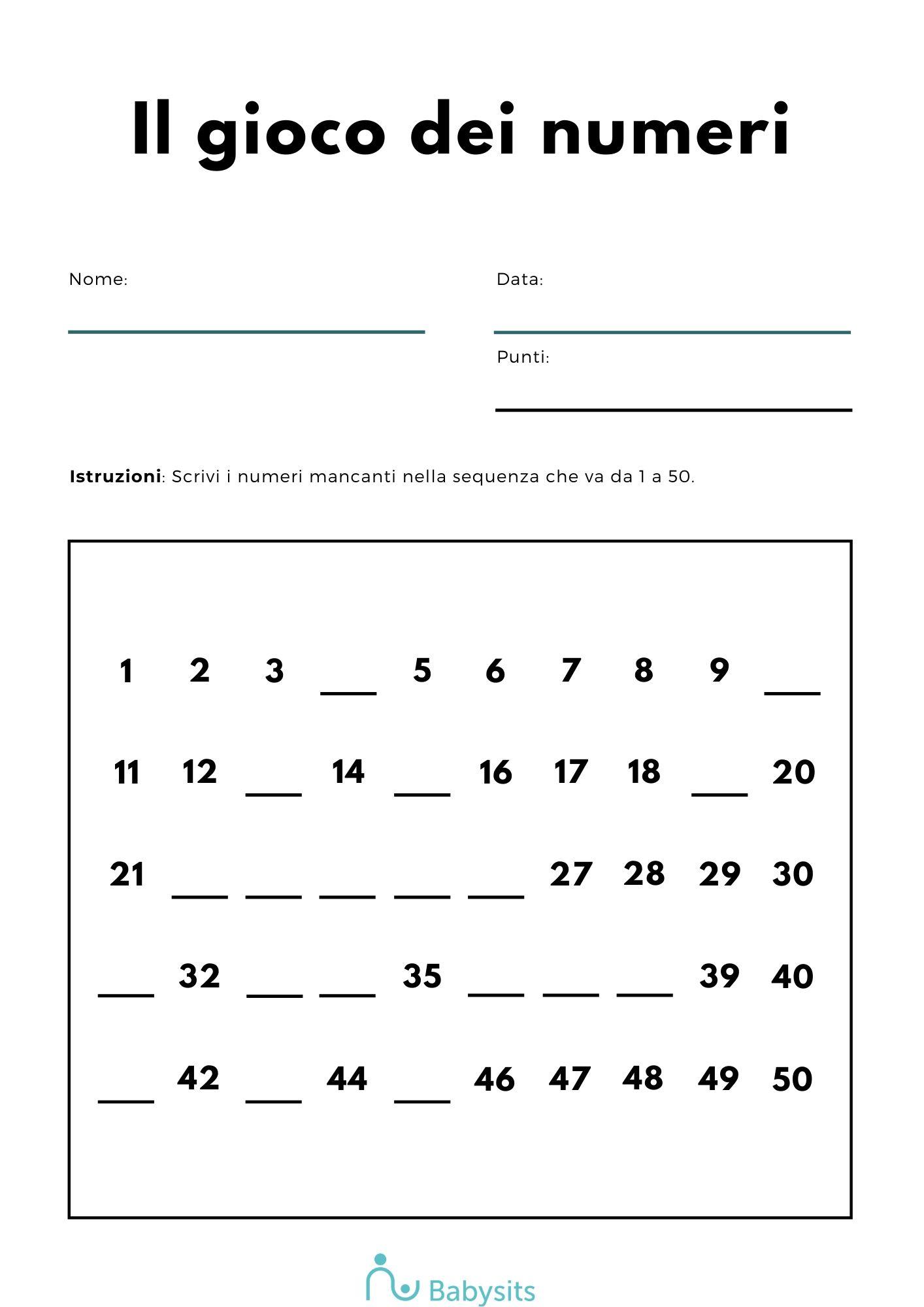 completa la sequenza di numeri inserendo quelli mancanti