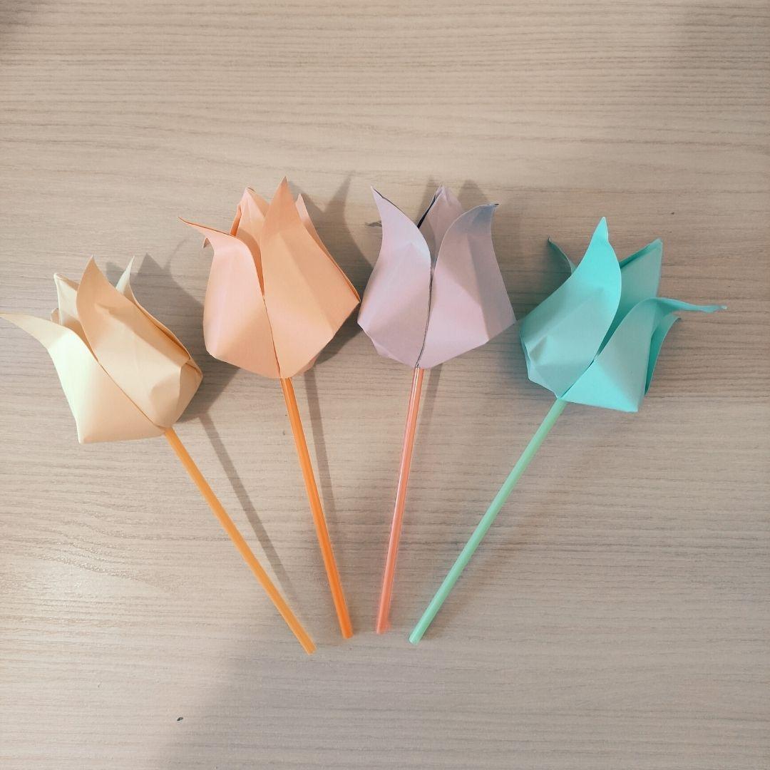 Tulipano origami per bambini - lavoretto facile da fare