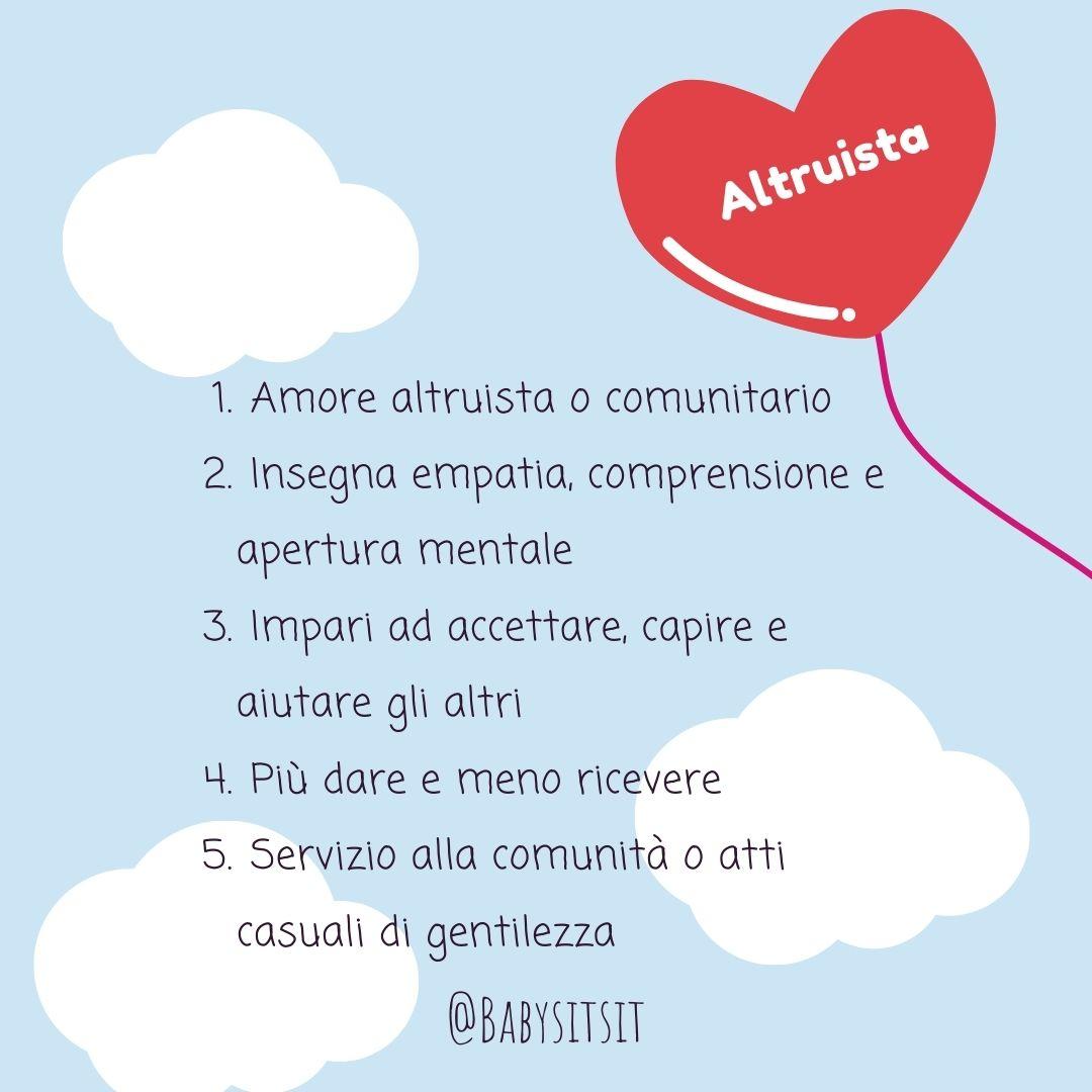 Tipi di amore: l'amore altruista