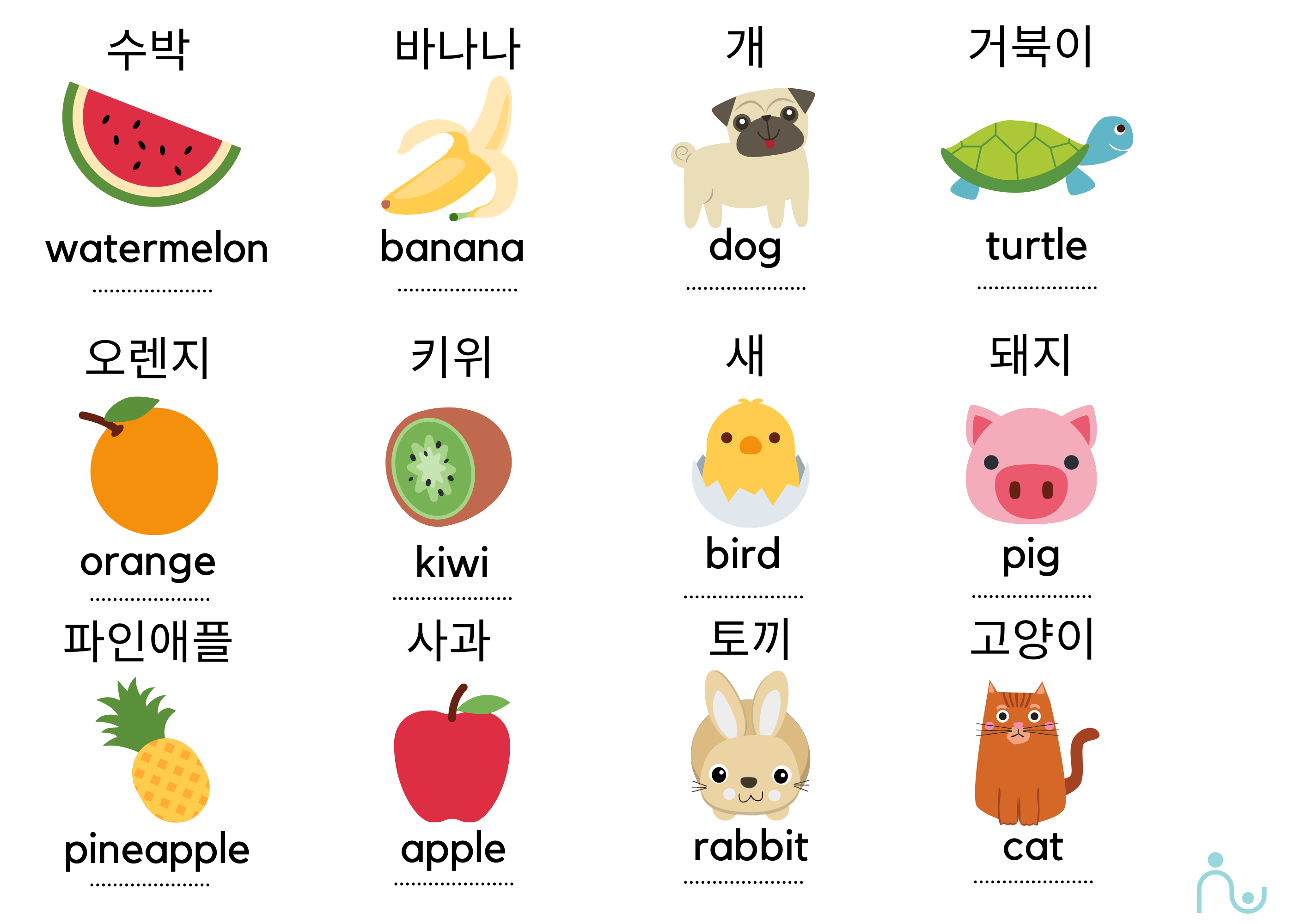 learning a language with fruits and animals