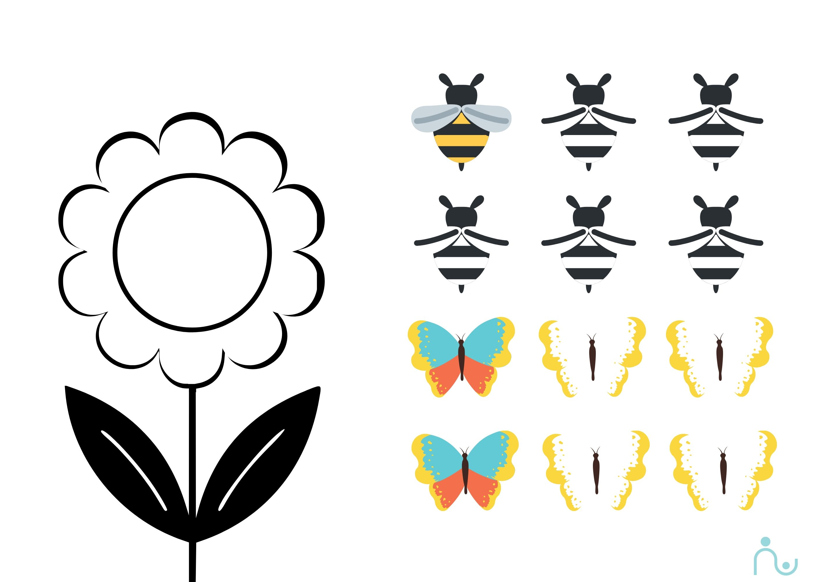 color the flower and the bees