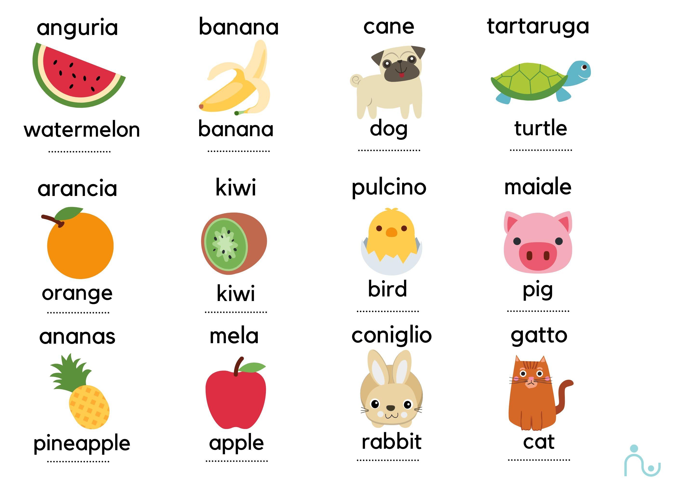 Attività creative per bambini: impara l'inglese con frutta e animali