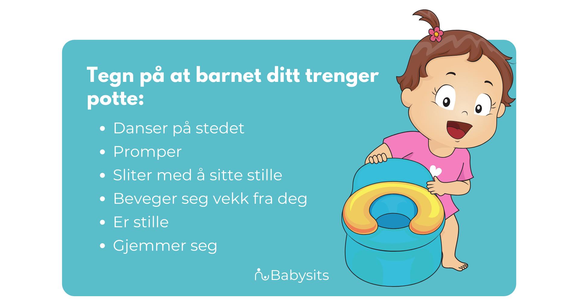 tegn på at barnet ditt må lære å trene potte
