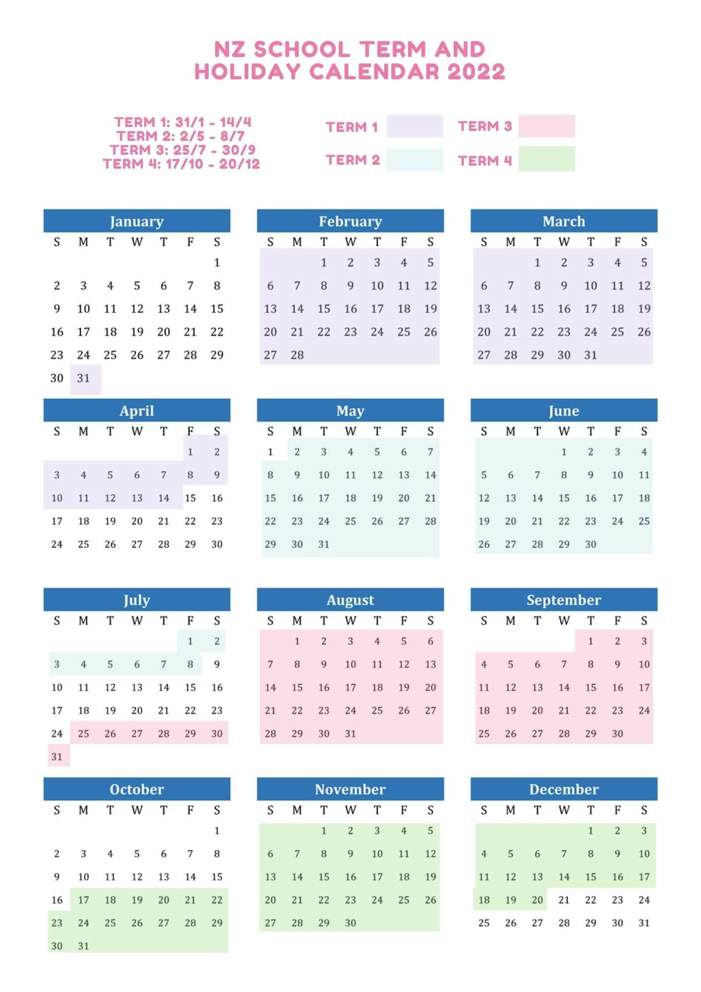 NZ school term and holiday calendar 2022