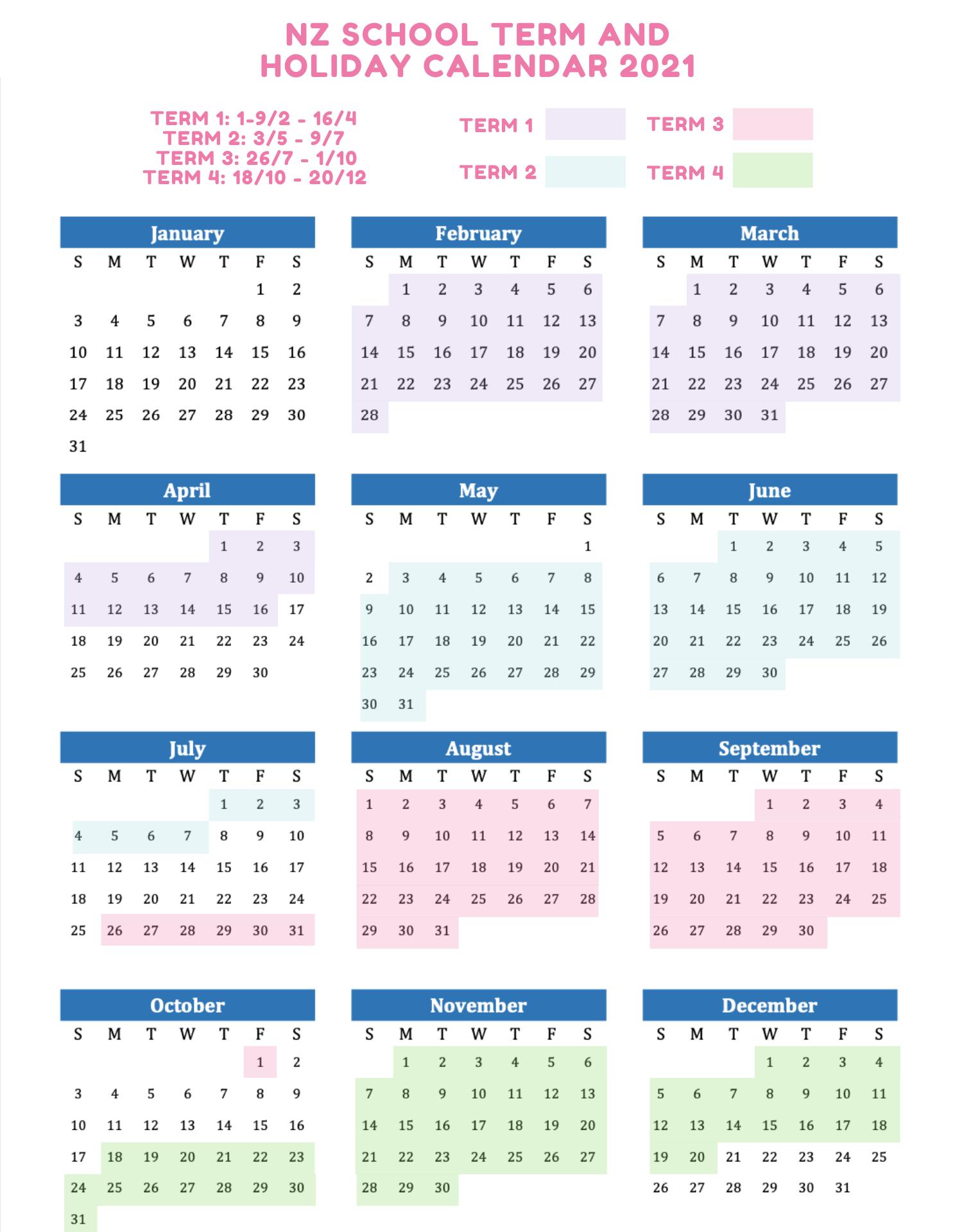 NZ school term and holiday calendar 2021
