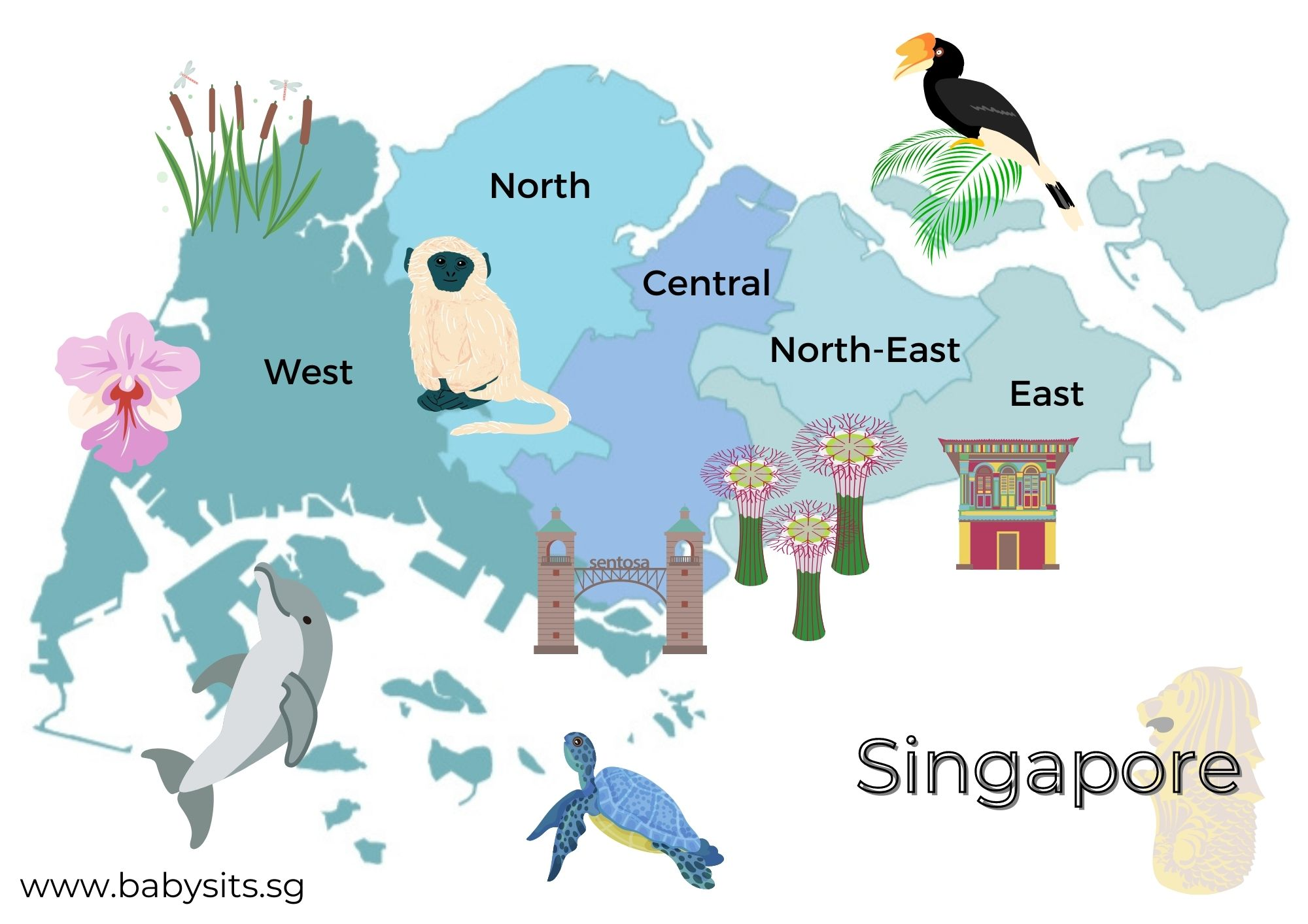 Singapore map and landmarks colouring page