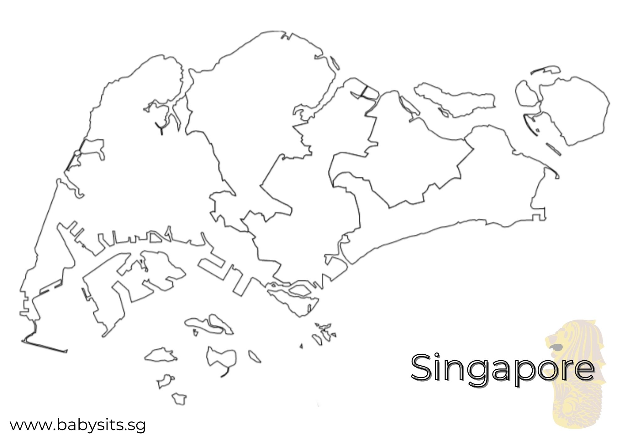 Singapore map colouring page