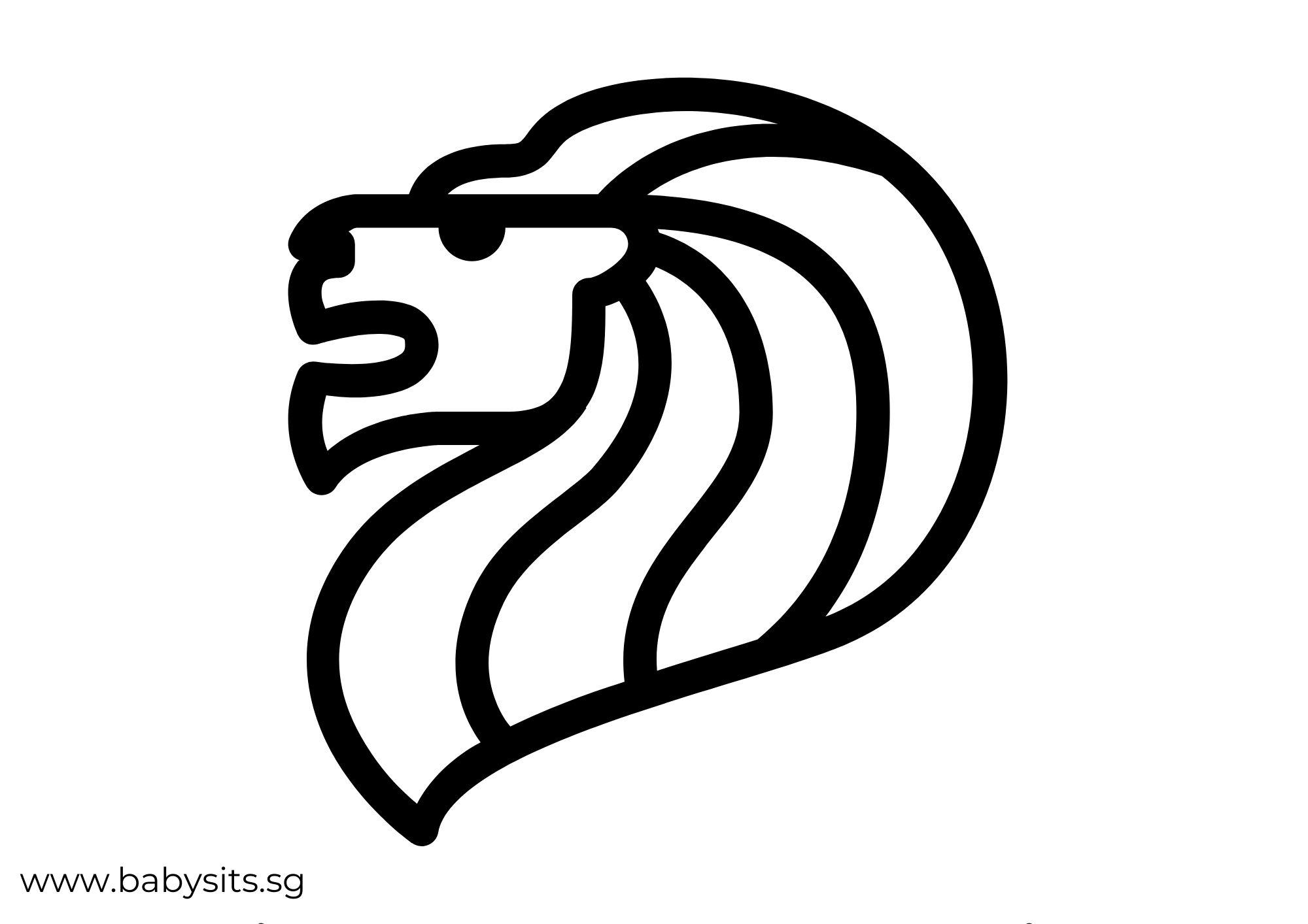 Singapore Lion Head colouring page