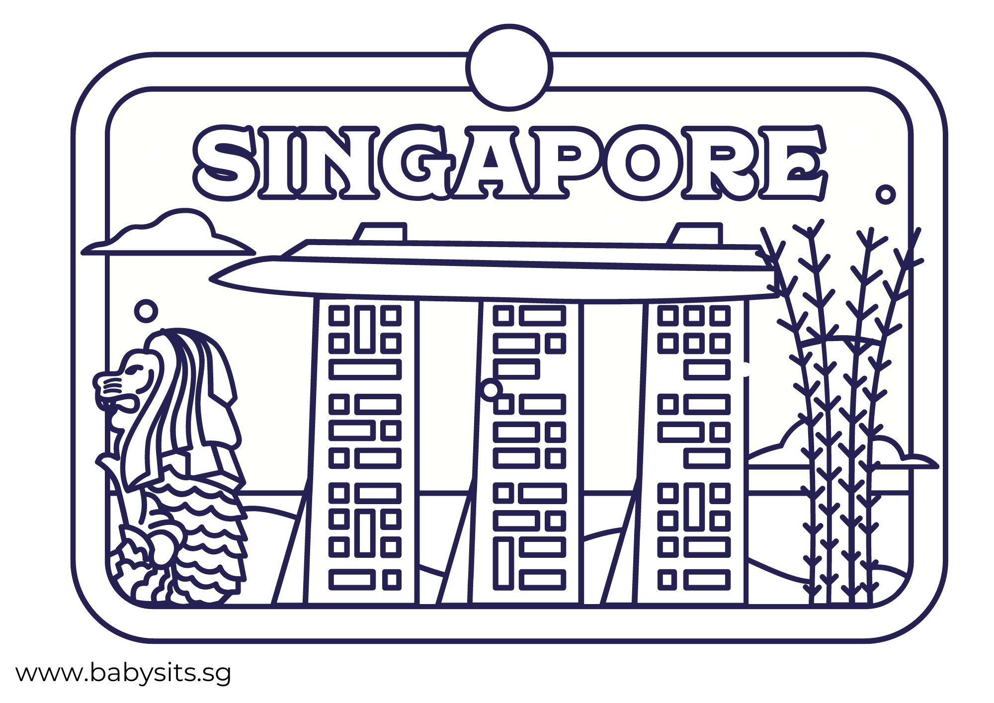 Singapore Skyline colouring page