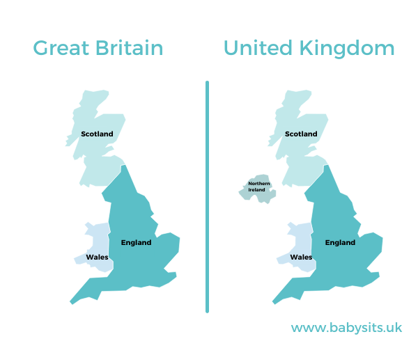 UK vs great britain map for kids