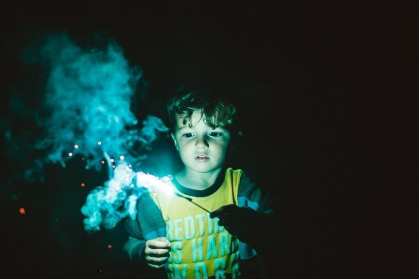 kid with sparkler