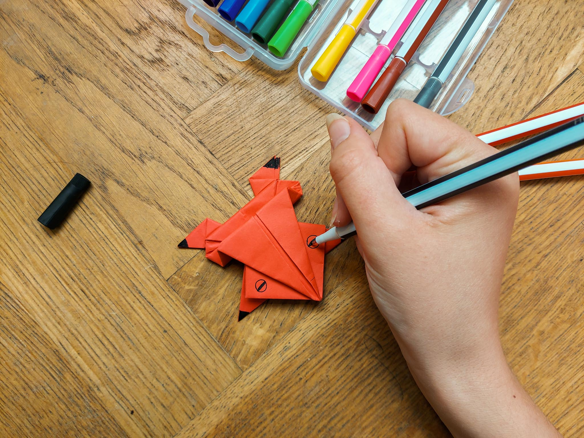 paper frog with markers