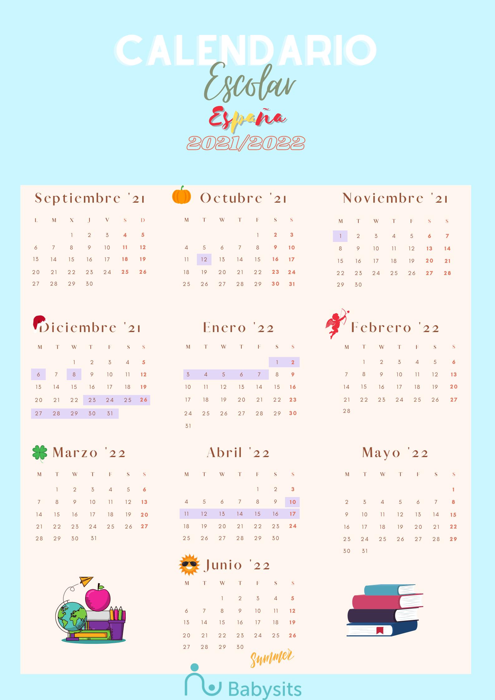 Calendario académico y vacaciones escolares España 2021/2022 - Calendario imprimible gratuito