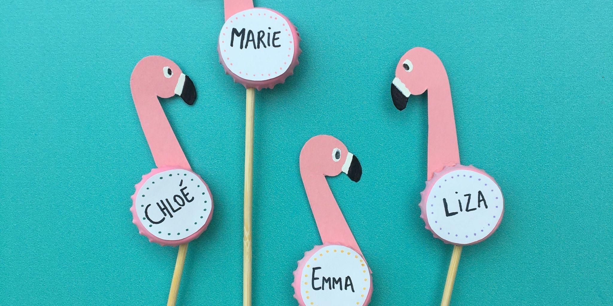 Lyserøde flamingo bordkort
