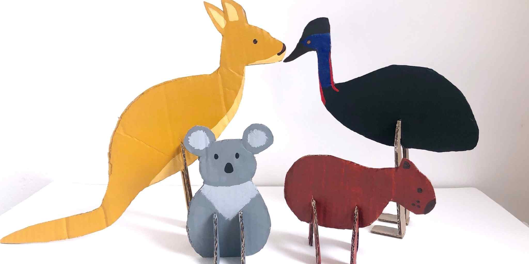Make your own recycled Aussie animals out of cardboard