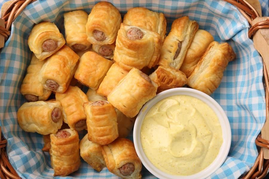 Homemade mini sausage rolls