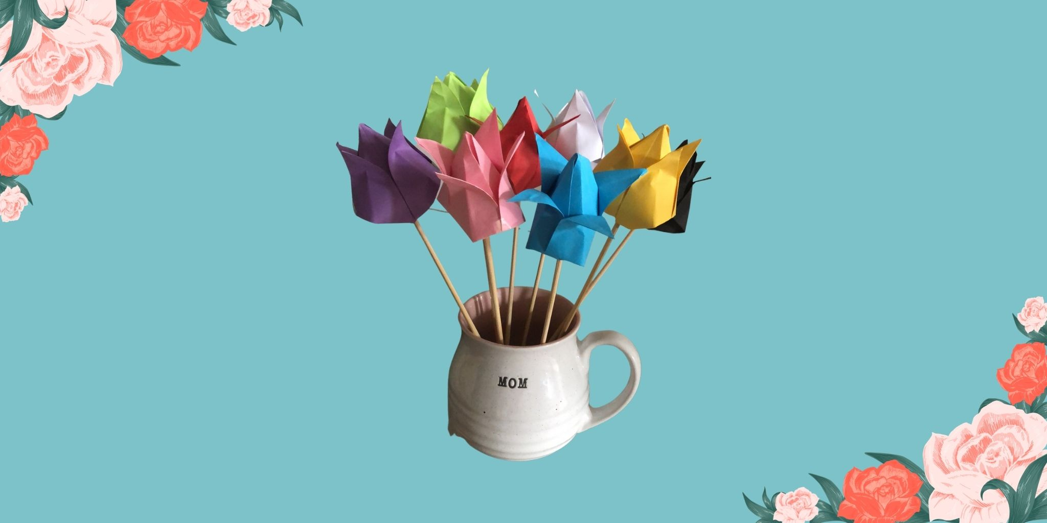 Tulipanes de origami para el Día de la Madre