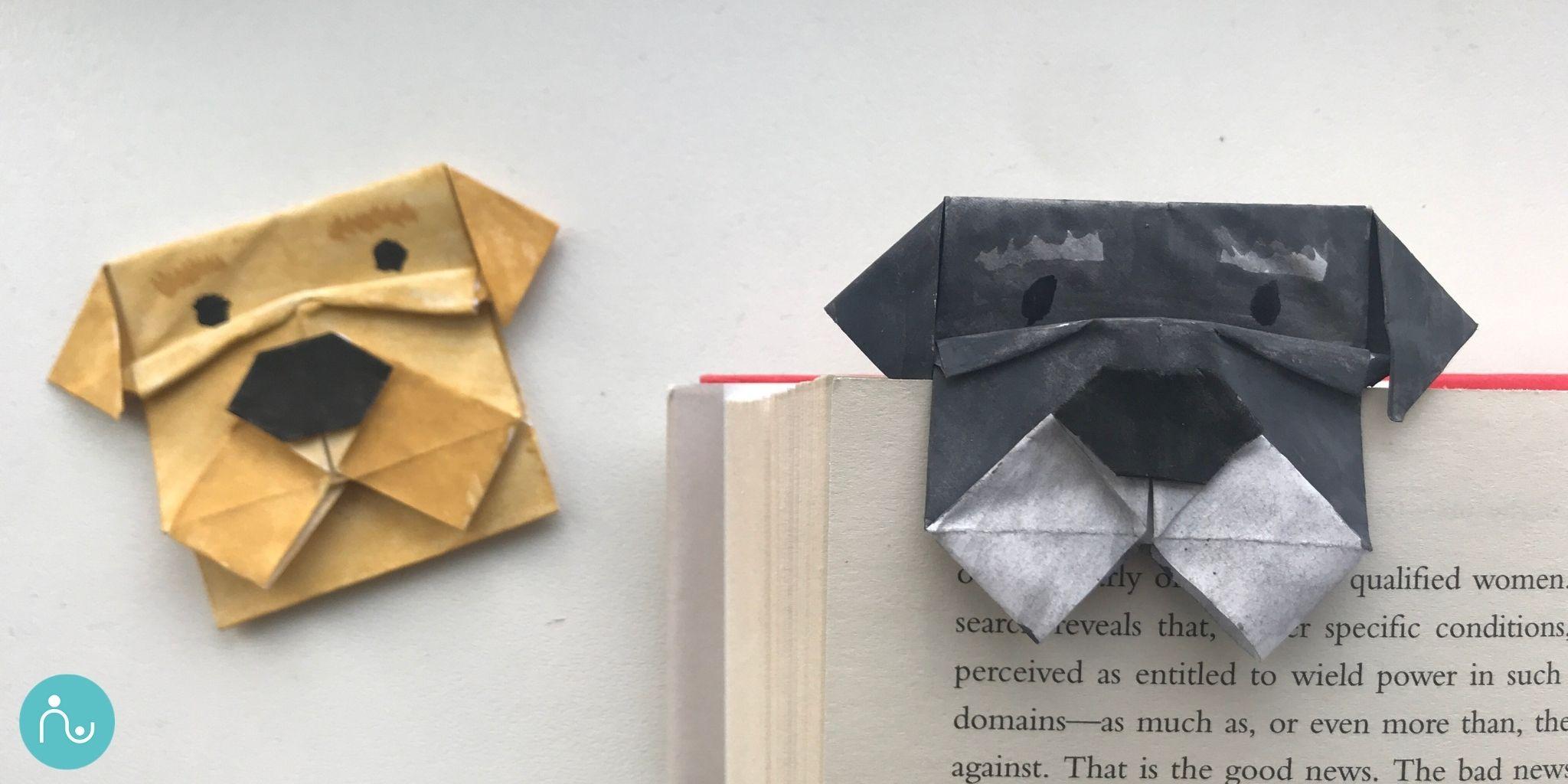 Origami kutyusos könyvjelző
