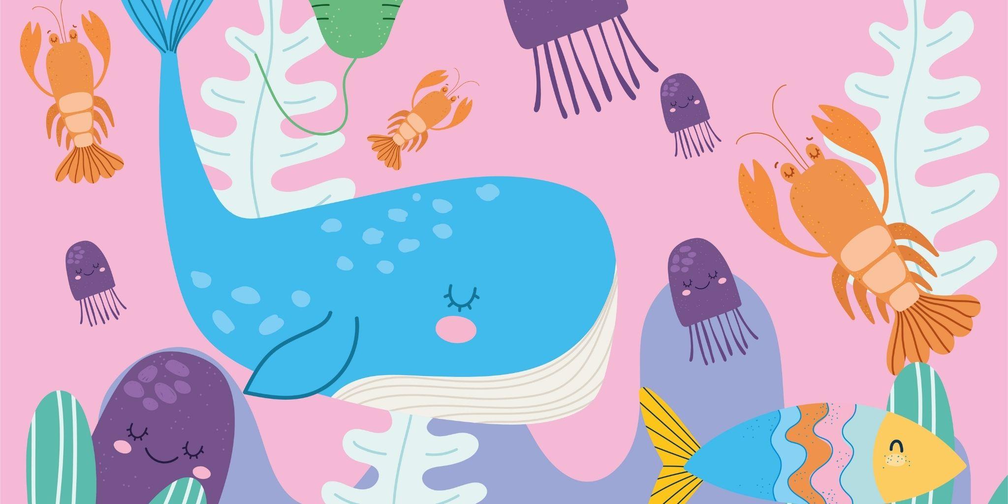 Lavoretto con rotoli di carta igienica: gli animali dell'oceano