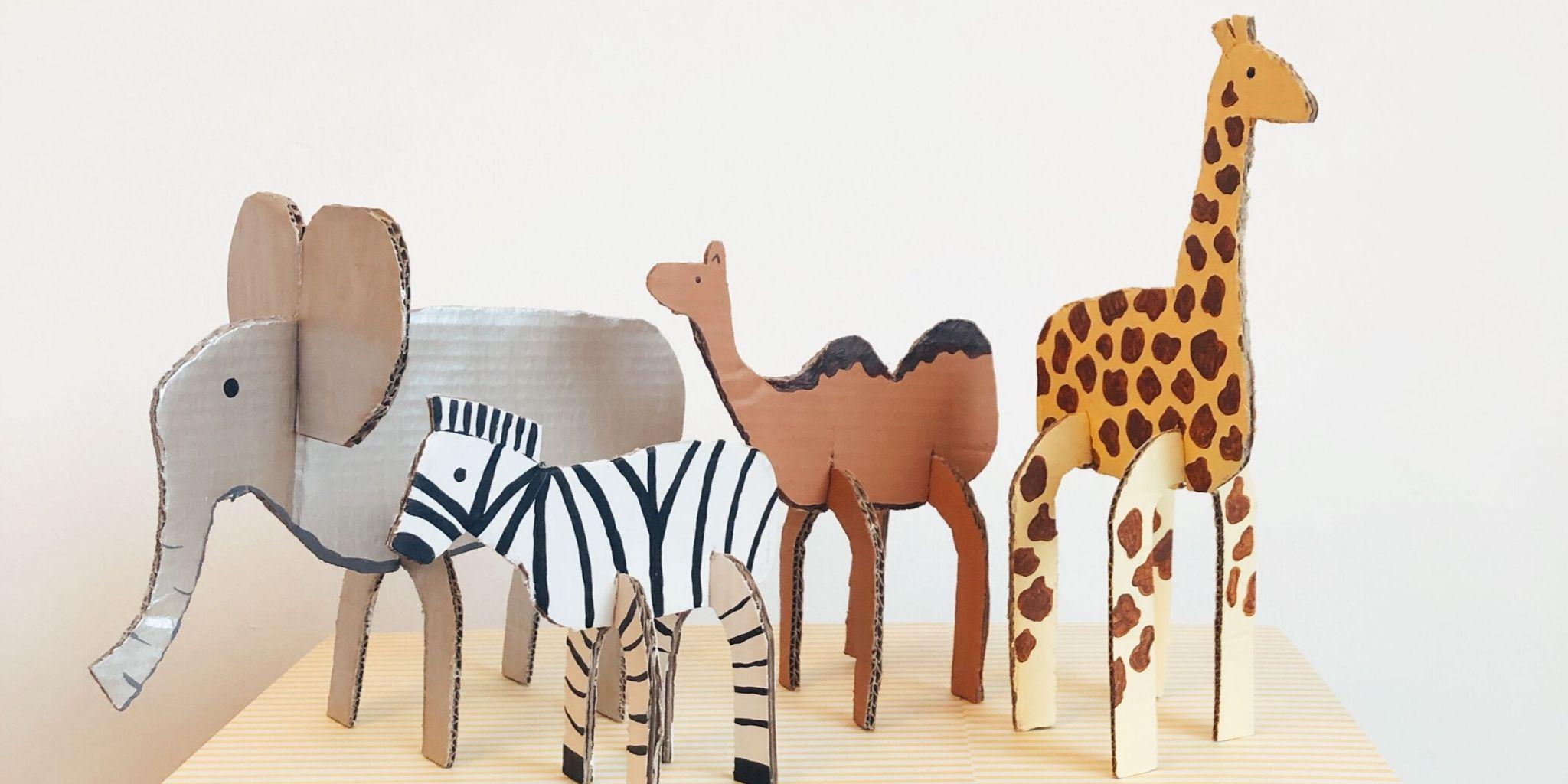 Gerecyclede kartonnen dieren DIY