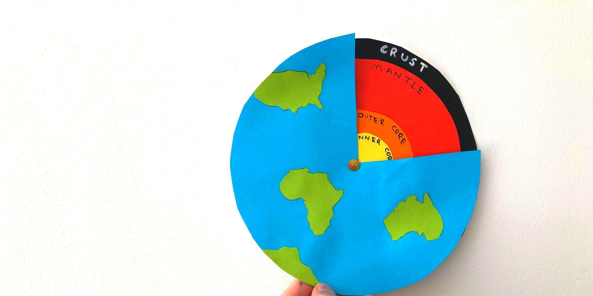 Atividade de geologia sobre as camadas da Terra