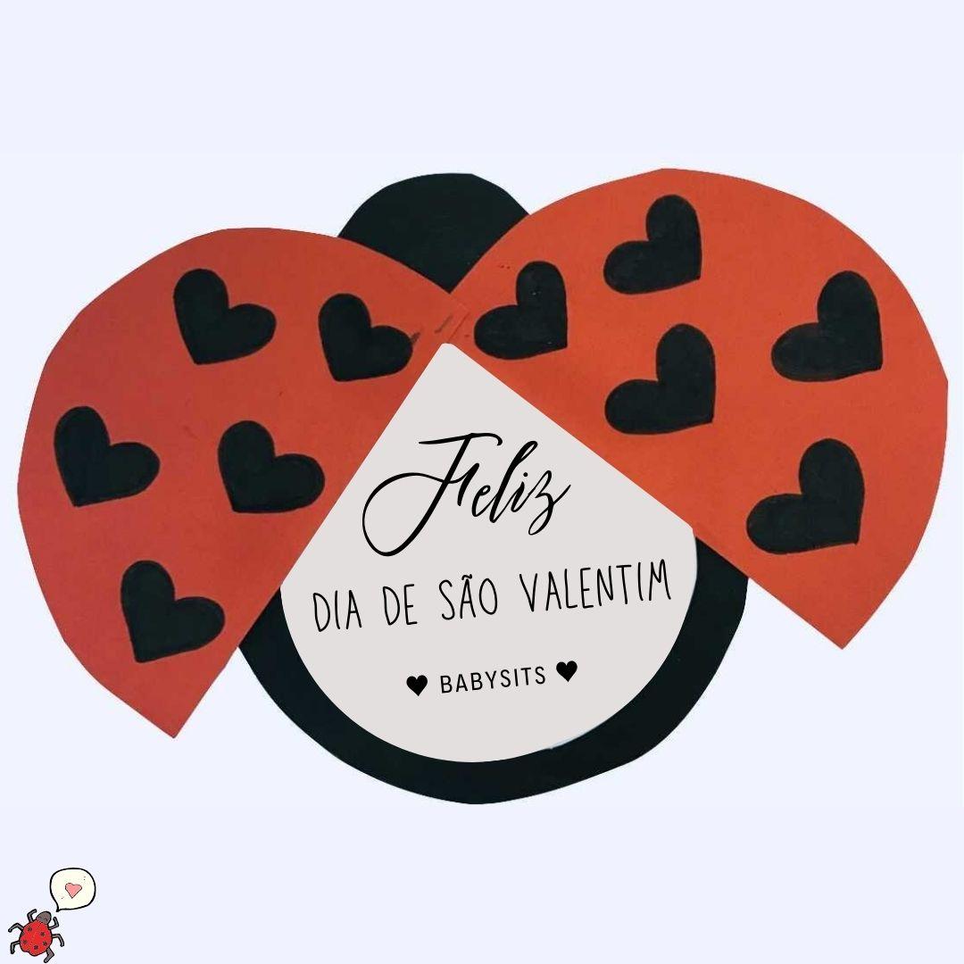 Cartão de joaninha para o Dia de São Valentim