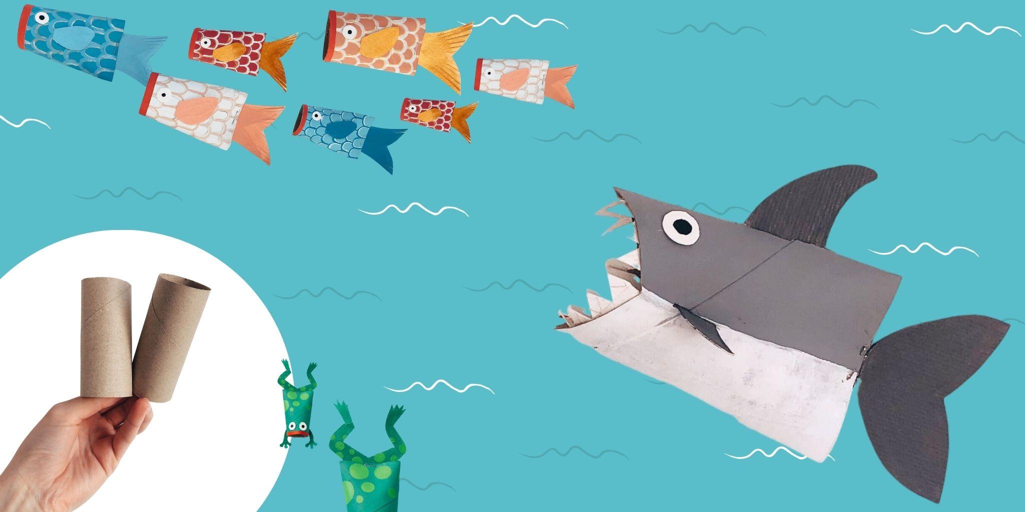 Criaturas do mar em rolos de papel higiénico: tubarão, sapo e peixe