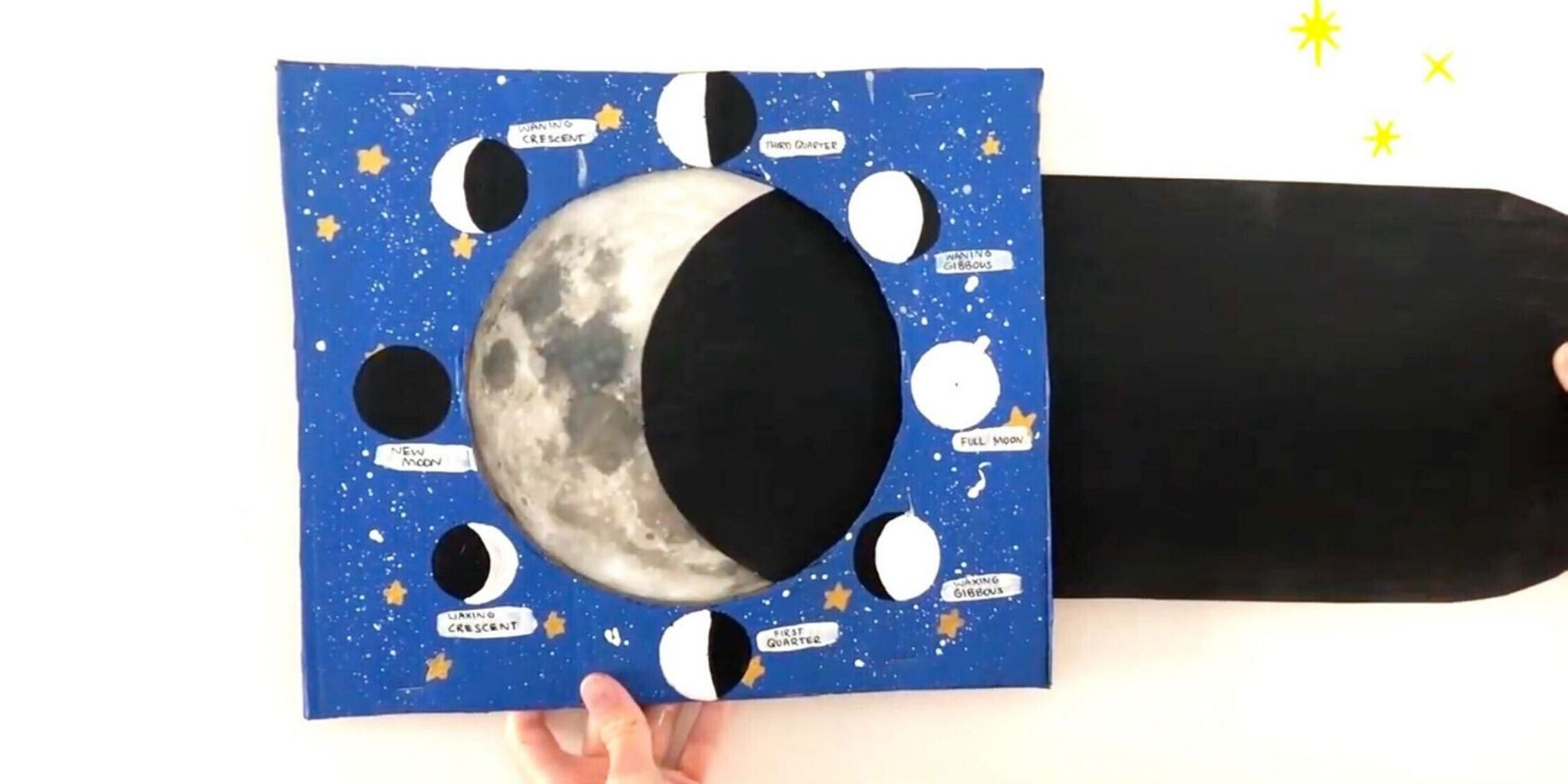 Rymdpyssel som lär barnen om månens faser