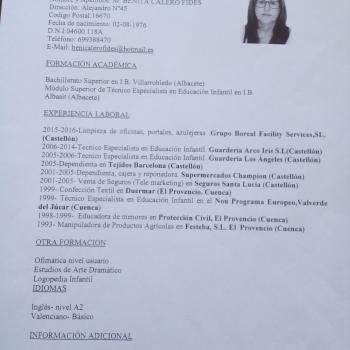 Niñera Castellón de la Plana: MARIA BENITA CALERO FIDES