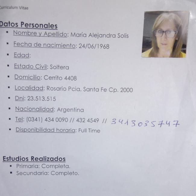 Niñera en Rosario: Alejandra